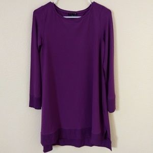 Eileen Fisher Rayon Tunic, Ribbed Detail, Purple